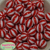 20mm Red Melon Stripe Bubblegum Beads