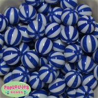20mm Royal Blue Melon Stripe Bubblegum Beads