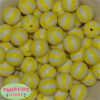 20mm Yellow  Melon Stripe Bubblegum Beads