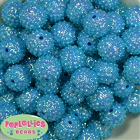 20mm Blue Mini Rhinestone Bubblegum Beads