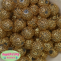 20mm Gold Mini Rhinestone Bubblegum Beads