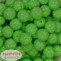 20mm Lime Mini Rhinestone Bubblegum Beads