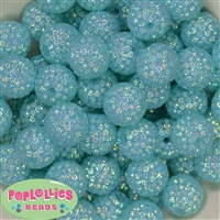 20mm Mint Mini Rhinestone Bubblegum Beads