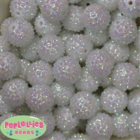 20mm White Mini Rhinestone Bubblegum Beads