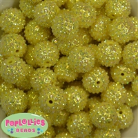 20mm Yellow Mini Rhinestone Bubblegum Beads