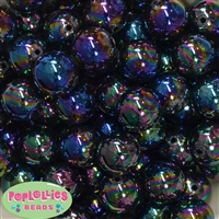 20mm Black Miracle AB Acrylic Bubblegum Beads