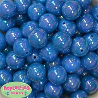 20mm Blue Miracle AB Acrylic Bubblegum Beads Bulk