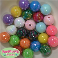 20mm Mix of Miracle AB Acrylic Bubblegum Beads Bulk