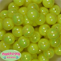 20mm Neon Yellow Miracle AB Acrylic Bubblegum Beads