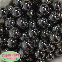 20mm Black Mirror Acrylic Bubblegum Beads Bulk