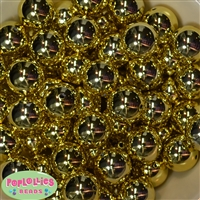 20mm Gold Mirror Acrylic Bubblegum Beads