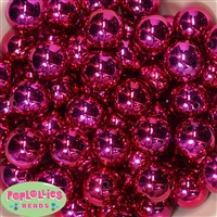 20mm Hot Pink Mirror Bubblegum Beads Bulk