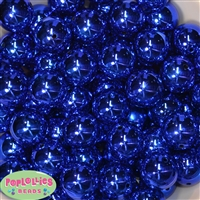 20mm Royal Blue Mirror Acrylic Bubblegum Beads Bulk
