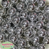 20mm Silver Mirror Acrylic Bubblegum Beads