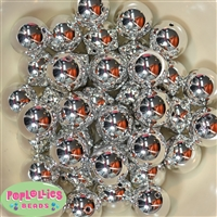 20mm Silver Mirror Acrylic Bubblegum Beads Bulk