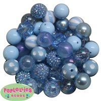 20mm Baby Blue Mixed Bubblegum Beads 52pc