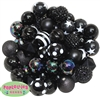 20mm Black Mixed Bubblegum Beads 52pc