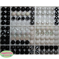 120pc Black and White Themed Mixed Bubblegum Beads