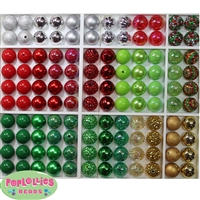 120pc Christmas Themed Mixed Bubblegum Beads