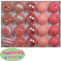 20mm Coral and Peach Mixed Bubblegum Beads