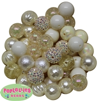 20mm Cream Mixed Bubblegum Beads 52pc