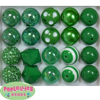 20mm Emerald Green Mixed Styles Acrylic Bubblegum Bead