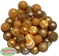 20mm Gold Mixed Bubblegum Beads 52pc