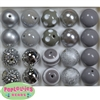 20mm Silver and Gray Mixed Bubblegum Beads