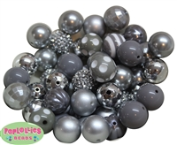 20mm Silver and Gray Mixed Bubblegum Beads 52pc