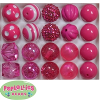 Mixed Styles of Hot Pink Beads
