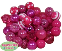 20mm Hot Pink Mixed Bubblegum Beads 52pc