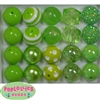 20mm Lime Green Mixed Styles Acrylic Bubblegum Bead