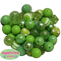 20mm Lime Green Mixed Bubblegum Beads 52pc