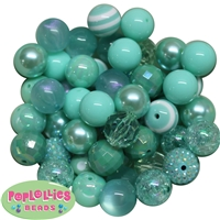 20mm Mint Mixed Bubblegum Beads 52pc