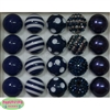 20mm Navy Blue Mixed Styles Acrylic Bubblegum Bead