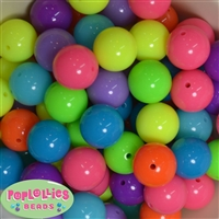 20mm Mix of Neon Acrylic Bubblegum Bead 100 pc