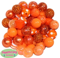 20mm Orange Mixed Bubblegum Beads  52pc