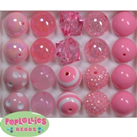 20mm Mixed Style Pink Beads