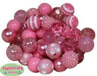 20mm Pink Mixed Styles Acrylic Bubblegum Bead 52pc