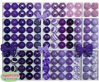 20mm Purple Mixed Styles Acrylic Bubblegum Bead 124pc