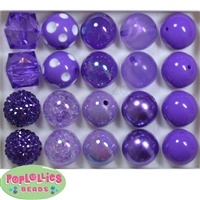 Mixed Style 20mm Purple Bubblegum Beads