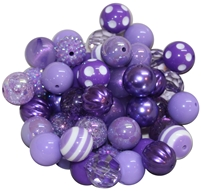 20mm Lavender Mixed Bubblegum Beads 52pc