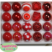 20mm Red Mixed Styles Acrylic Bubblegum Bead