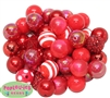 20mm Red Mixed Styles Acrylic Bubblegum Bead 52pc