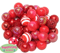 52 pc. Set of Red Bubblegum Beads