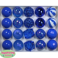 Mixed Styles of 20mm Royal Blue Beads 20 pc