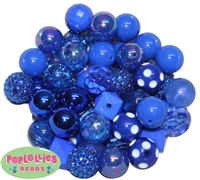 20mm Royal Blue Mixed Styles Acrylic Bubblegum Bead 52pc