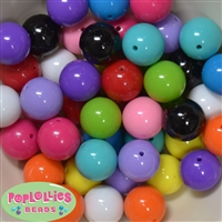 20mm Mix of Solid Acrylic Bubblegum Bead 120pc