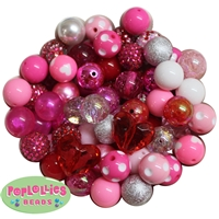 120pc Valentines Themed Mixed Bubblegum Beads