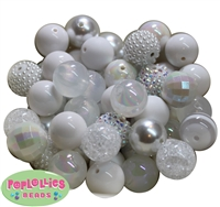 20mm White Mixed Styles Acrylic Bubblegum Bead 52pc